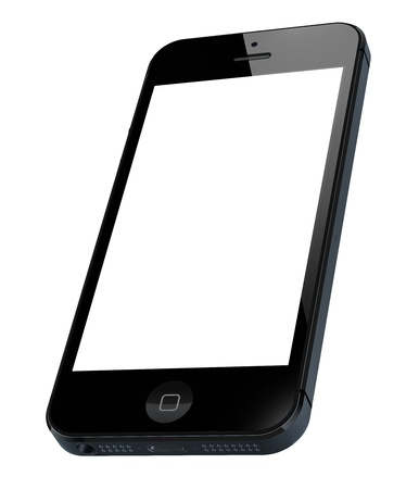 iPhone 5 with blank screen isolated on white. Include clipping path for phone and screen. Editorial