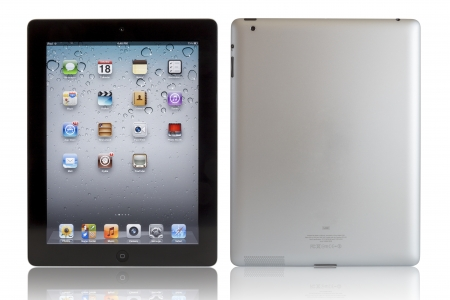 Galati, Romania- August 18, 2012: Wi-Fi + 4G iPad 3 with iOS 5.1 by Apple Inc, the third generation iPad was released for sale by Apple Inc on March 16, 2012. The New iPad 3 boasts a stunning retina display, a beefed up A5X dual-core processor, quad-core  Stock Photo - 15453473