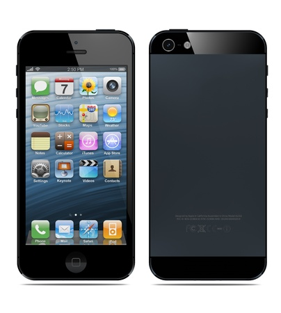 Galati, Romania- September 12, 2012: New Apple iPhone 5 was released for sale by Apple Inc on September 12, 2012.  Editorial