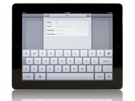 Ipad 3 with AOL connection on white background Stock Photo - 15838364