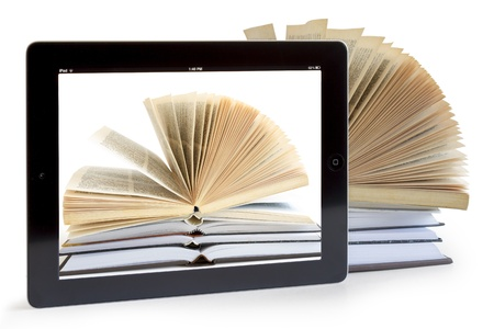 bookshelf digital: Ipad 3 with books background on white background