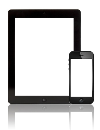 Galati, Romania- August 18, 2012: A black Apple iPhone 5 in front of a black Apple iPad 3 tablet. Both devices  with blank screen on white background. Studio shot.