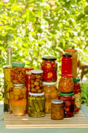 fibber: compotes and pickles in jars, homemade Stock Photo