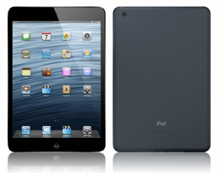 Galati, Romania - October 23, 2012 - Apple  today introduced iPad  mini, a completely new iPad design that is 23 percent thinner and 53 percent lighter than the third generation iPad.  Stock Photo - 16093702