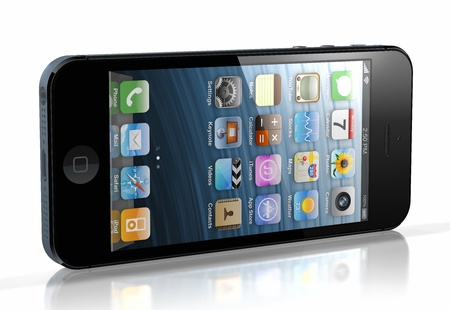 Galati, Romania- November 9, 2012: New Apple iPhone 5 was released for sale by Apple Inc on September 12, 2012.  Publikacyjne
