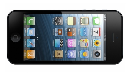galati: Galati, Romania- November 9, 2012: New Apple iPhone 5 was released for sale by Apple Inc on September 12, 2012.  Editorial