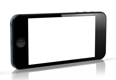 iPhone 5 with blank screen on white background. This was released for sale by Apple Inc on September 12, 2012.  Editorial