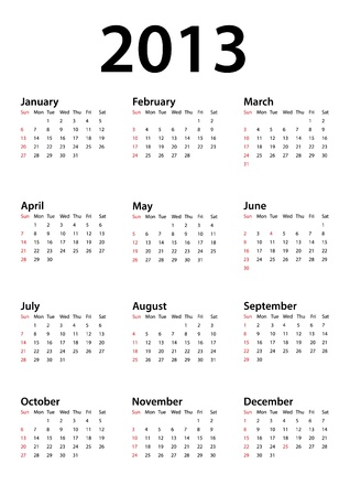 Calendar for 2013 on white Stock Vector - 16552462