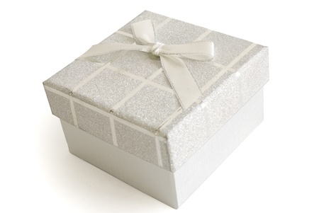Christmas Gift Box on white background. photo