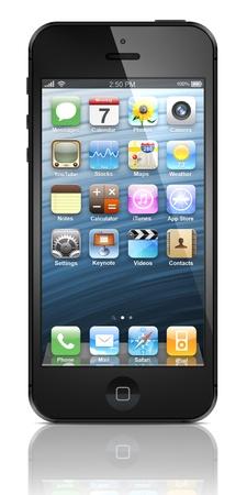 新しいアップルの iPhone 5 は 2012 年 9 月 12 日にアップル Inc によって販売のためリリースされました。iPhone 5 はわずか 7.6 ミリメートル薄いです。
