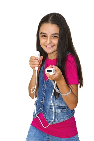 wii: A teenage girl playing video game, isolated on white background