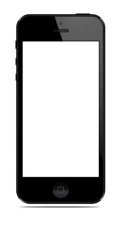New Modern Smart Phone with blank screen isolated on white. Include clipping path for phone and screen.