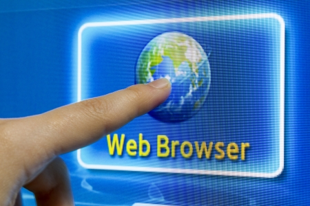Finger touch screen to connect internet web browser Stock Photo - 17696701