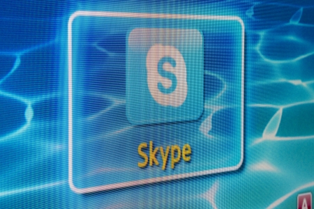 galati: Galati, Romania - Januarie 16, 2013: Enjoy widescreen Skype video calls from the confort of your livingroom! Skype is app for your Samsung Smart TV. Editorial
