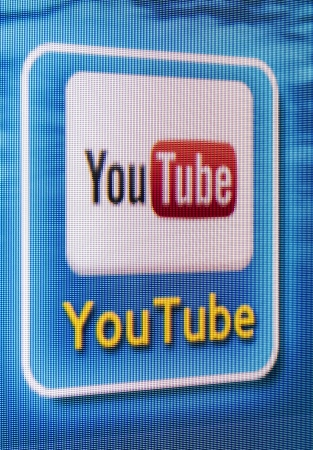 galati: Galati, Romania - Januarie 16, 2013: YouTube app icon on a Tv screen. YouTube is the Worlds most acknowledged video sharing site, established in 2005. YouTube is owned by Google Editorial