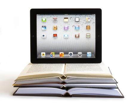 iPad 3 boasts a stunning retina display, a beefed up A5X dual-core processor, quad-core graphics. Studio shot on white background.