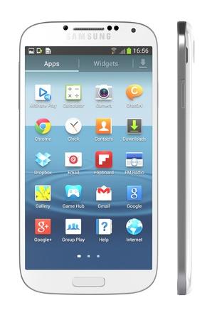 Samsung Galaxy S4 teléfono atrae de manera constante desde el mismo lenguaje de diseño como el S3, pero tiene casi todas las especificaciones a un extremo - la pantalla es más grande, el procesador más rápido y la cámara mirando hacia atrás rellenas con más megapíxeles.