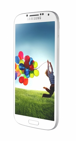 Samsung Galaxy S4 handset steadily draws from the same design language as the S3, but takes almost every spec to an extreme -- the screen is larger, the processor faster and the rear-facing camera stuffed with more megapixels. Stock Photo - 19107824