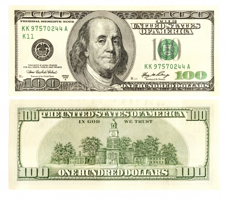 One hundred dollars front and back photo