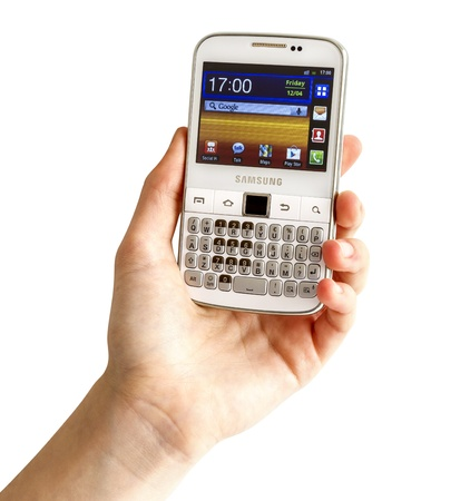 galati: Galati, Romania - April 25, 2013: The Samsung Galaxy Y Pro B5510 is a Android smartphone with full QWERTY keyboard candybar. Editorial