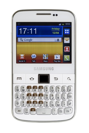 Galati, Romania - April 25, 2013: The Samsung Galaxy Y Pro B5510 is a Android smartphone with full QWERTY keyboard candybar.