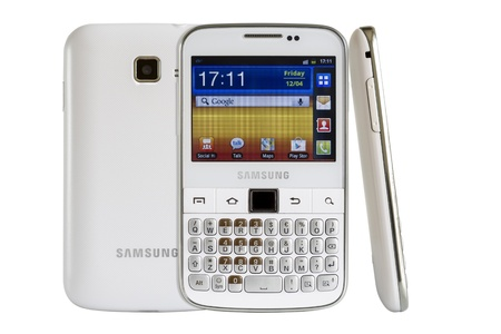 samsung galaxy: Galati, Romania - April 25, 2013: The Samsung Galaxy Y Pro B5510 is a Android smartphone with full QWERTY keyboard candybar.