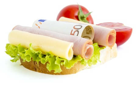 expensive food: Sandwich and euro money  Expensive food