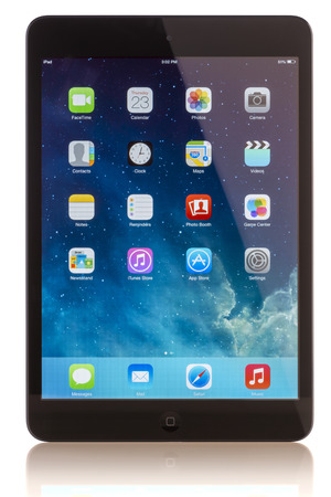 GALATI, ROMANIA, JANUARY 23, 2014: - iPad mini is powered by the new A7 chip with 64-bit architecture. A7 delivers killer performance — up to four times faster CPU and up to eight times faster graphics performance than the previous generation — withou