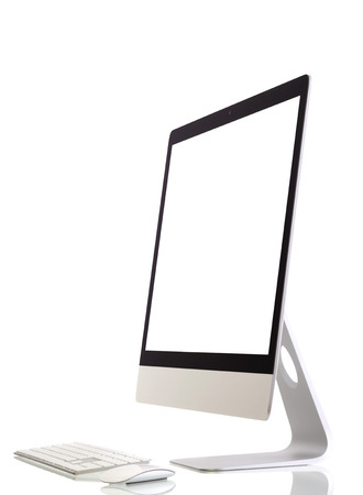 liquid crystal display: Illustration of modern computer monitor with blank screen  Isolated on white  added for screen