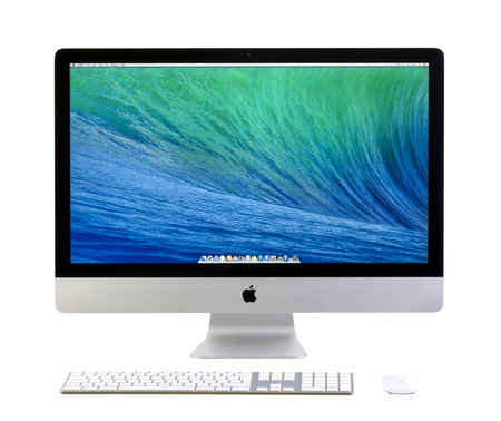 GALATI, ROMANIA, FEBRUARY 26, 2014: New iMac 27 With OS X Mavericks. It brings new apps to desktop. OS X is the operating system that powers every Mac. New Apple iMac 27 inch isolated on white background. Galati, Romania, February 26, 2014