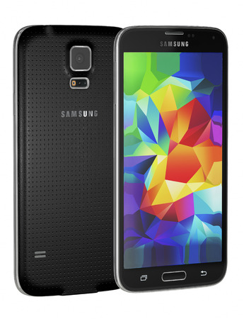 Galati, Romania - May 14, 2014: Samsung Galaxy S5 is the newest smart phone from Samsung and support 5.1 inches Multi-touch extream high resolution display (1080 x 1920 pixels) and Android OS. Device shows the lock screen. Isolated on white.