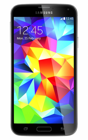 Galati, Romania - May 19, 2014: Samsung Galaxy S5 is the newest smart phone from Samsung and support 5.1 inches Multi-touch extream high resolution display (1080 x 1920 pixels) and Android OS. Device shows the lock screen. Isolated on white.