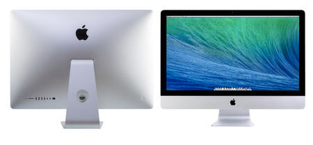 galati: GALATI, ROMANIA, MARCH 28, 2014: New iMac 27 With OS X Mavericks. It brings new apps to desktop. Front and back view of New Apple iMac 27 inch against white background. Galati, Romania, March 28, 2014