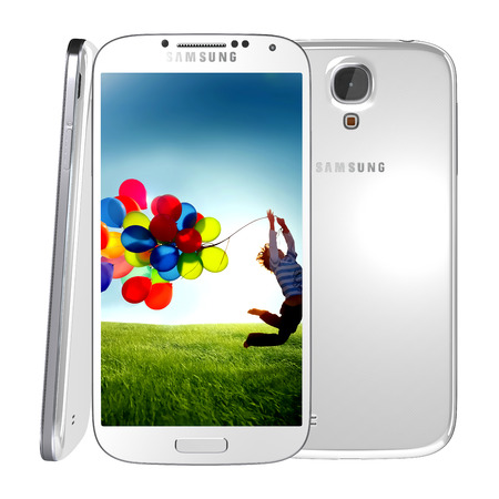 Samsung Galaxy S4 handset steadily draws from the same design language as the S3, but takes almost every spec to an extreme -- the screen is larger, the processor faster and the rear-facing camera stuffed with more megapixels  Stock Photo - 29224423
