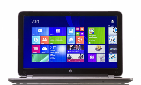 Galati, Romania - Junie 10, 2014: HP Pavilion 15-n230us Notebook PC (ENERGY STAR) with Windows 8.1, newest operating system from Microsoft.