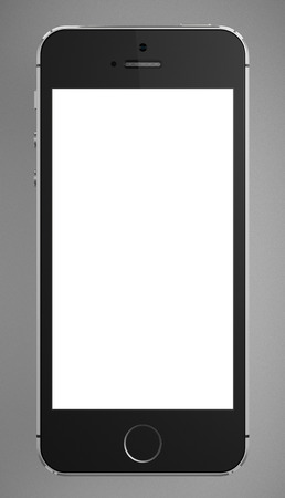 include: Galati, Romania - August 12, 2014: A front view of an Apple iPhone 5s displaying a blank white screen. Some of the new features of the iPhone 5s include fingerprint recognition built into the home button, a new camera, and a 64-bit processor. Apple releas Editorial