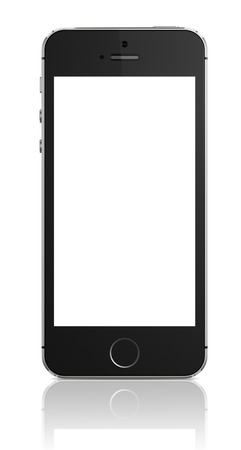 Apple iPhone 5s displaying a blank white screen  Some of the new features of the iPhone 5s include fingerprint recognition built into the home button, a new camera, and a 64-bit processor  Apple released the iPhone 5s on September 20, 2013
