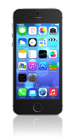 iPhone 5s showing the home screen with iOS7  Some of the new features of the iPhone 5s include fingerprint recognition built into the home button, a new camera, and a 64-bit processor  Apple released the iPhone 5s on September 20, 2013