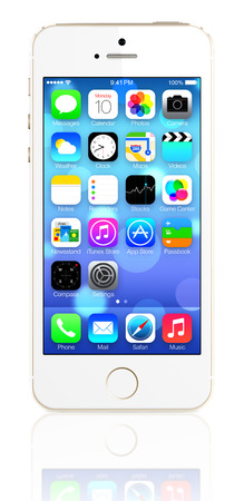 Gold iPhone 5s showing the home screen with iOS7  Some of the new features of the iPhone 5s include fingerprint recognition built into the home button, a new camera, and a 64-bit processor  Apple released the iPhone 5s on September 20, 2013