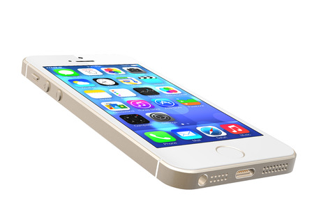 Gold iPhone 5s showing the home screen with iOS7. Some of the new features of the iPhone 5s include fingerprint recognition built into the home button, a new camera, and a 64-bit processor. Apple released the iPhone 5s on September 20, 2013.