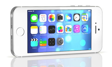 retina display:  Silver iPhone 5s showing the home screen with iOS7. Some of the new features of the iPhone 5s include fingerprint recognition built into the home button, a new camera, and a 64-bit processor. Apple released the iPhone 5s on September 20, 2013.