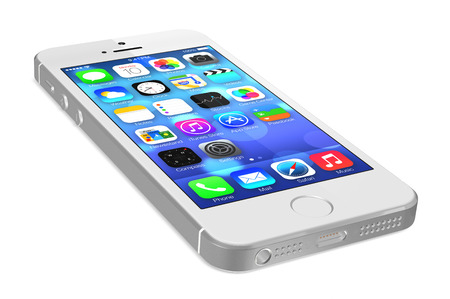 retina display: Silver iPhone 5s showing the home screen with iOS7. Some of the new features of the iPhone 5s include fingerprint recognition built into the home button, a new camera, and a 64-bit processor. Apple released the iPhone 5s on September 20, 2013. Editorial