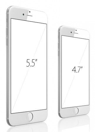 Apple Silver iPhone 6 Plus and iPhone 6 witn blank screen.The new iPhone with higher-resolution 4.7 and 5.5-inch screens, improved cameras, new sensors, a dedicated NFC chip for mobile payments. Apple released the iPhone 6 and iPhone 6 Plus on September 9