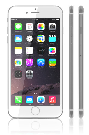 retina display: Galati, Romania - September 18, 2014: Apple Silver iPhone 6 Plus showing the home screen with iOS 8. View side of iPhone. The new iPhone with higher-resolution 4.7 and 5.5-inch screens, improved cameras, new sensors, a dedicated NFC chip for mobile paymen Editorial