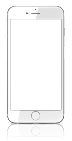 new and improved: Apple Silver iPhone 6 Plus with blank screen.The new iPhone with higher-resolution 4.7 and 5.5-inch screens, improved cameras, new sensors, a dedicated NFC chip for mobile payments. Apple released the iPhone 6 and iPhone 6 Plus on September 9, 2014.