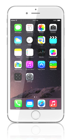 white: Apple Silver iPhone 6 Plus showing the home screen with iOS 8.The new iPhone with higher-resolution 4.7 and 5.5-inch screens, improved cameras, new sensors, a dedicated NFC chip for mobile payments. Apple released the iPhone 6 and iPhone 6 Plus on Septemb