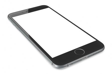 アップル スペース グレー iPhone 6 プラス白い空白の画面。高解像度 4.7 5.5 インチ画面、改善されたカメラ、新しいセンサーを持つ新しい iPhone モバイ 報道画像