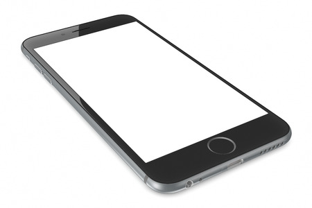 Apple Space Gray iPhone 6 Plus with white blank screen.The new iPhone with higher-resolution 4.7 and 5.5-inch screens, improved cameras, new sensors, a dedicated NFC chip for mobile payments. Apple released the iPhone 6 and iPhone 6 Plus on September 9,