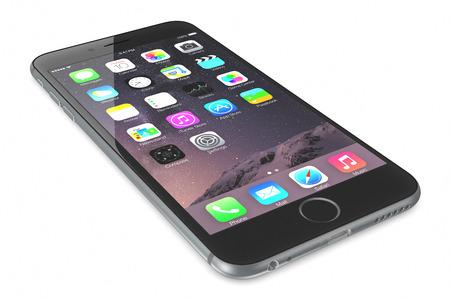 スペース グレー iPhone 6 高解像度画面 4.7 と 5.5 インチ画面、改良されたカメラ、新しいセンサーを持つ新しい iPhone iOS 8. とホーム画面を表示、プラ 報道画像