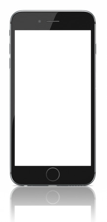 Apple Space Gray iPhone 6 Plus with blank screen.The new iPhone with higher-resolution 4.7 and 5.5-inch screens, improved cameras, new sensors, a dedicated NFC chip for mobile payments. Apple released the iPhone 6 and iPhone 6 Plus on September 9, 2014. Editorial